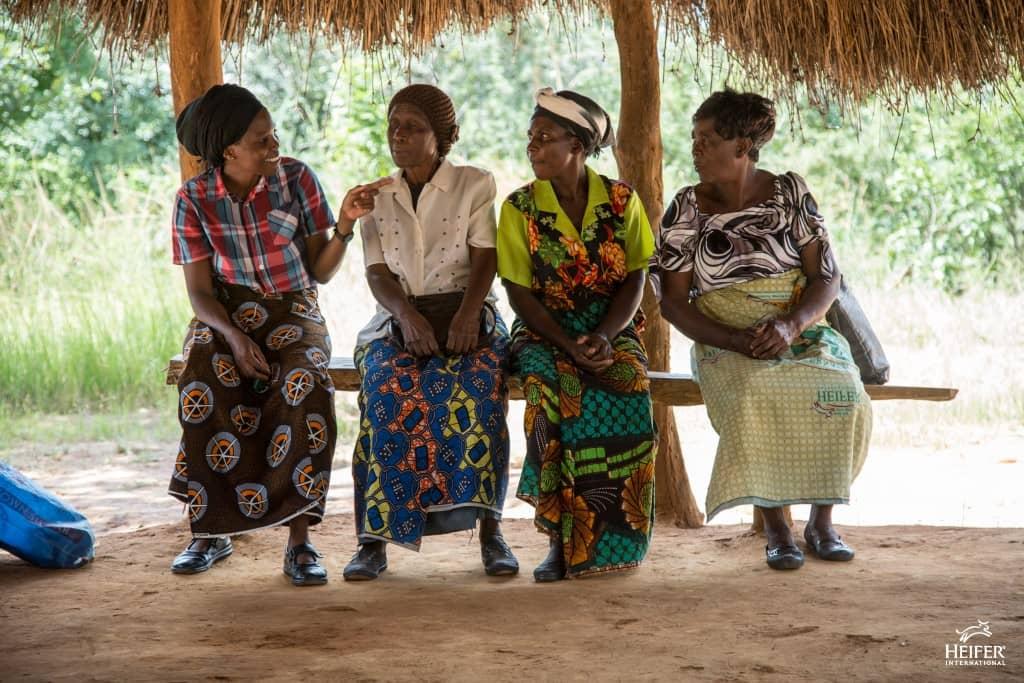 4 vrouwen Afrika zittend op een bankje - Heifer Nederland